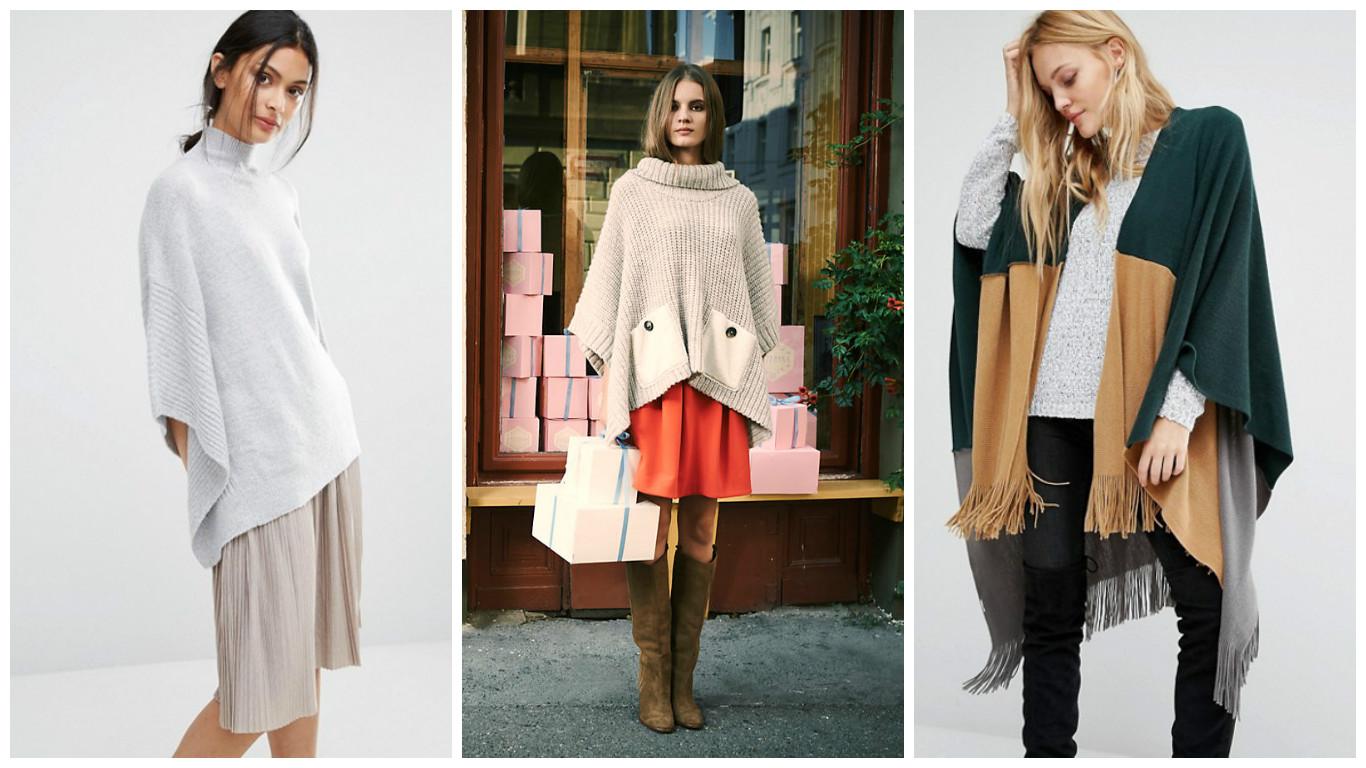 Как носить пончо: 24 модных идеи