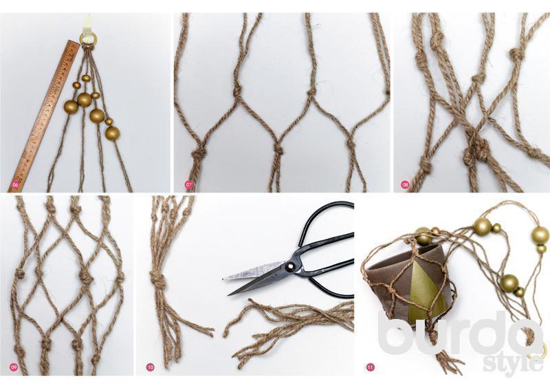 Кашпо для цветов своими руками нитками