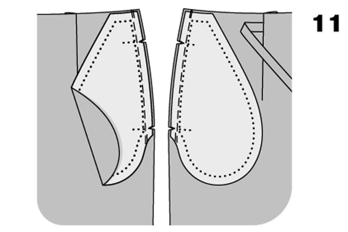 карман в боковом срезе схема