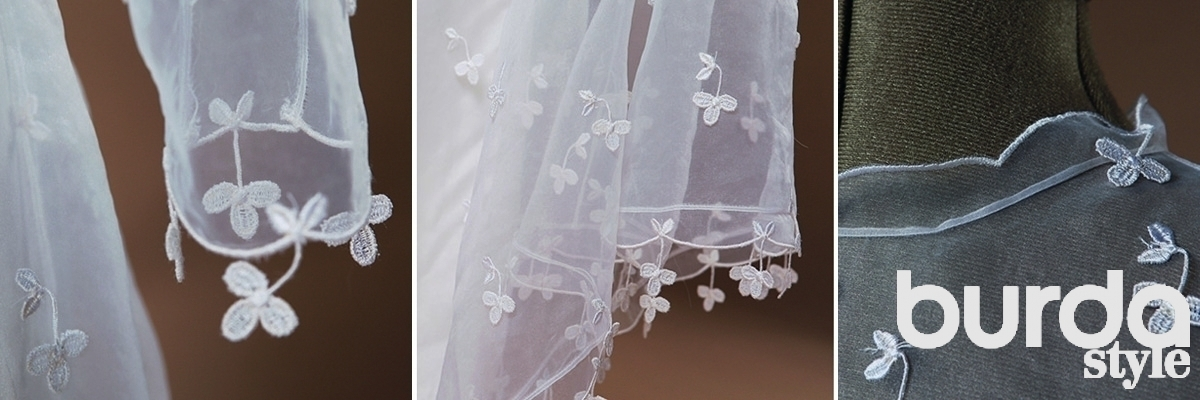 как шить в свадебный лентой
