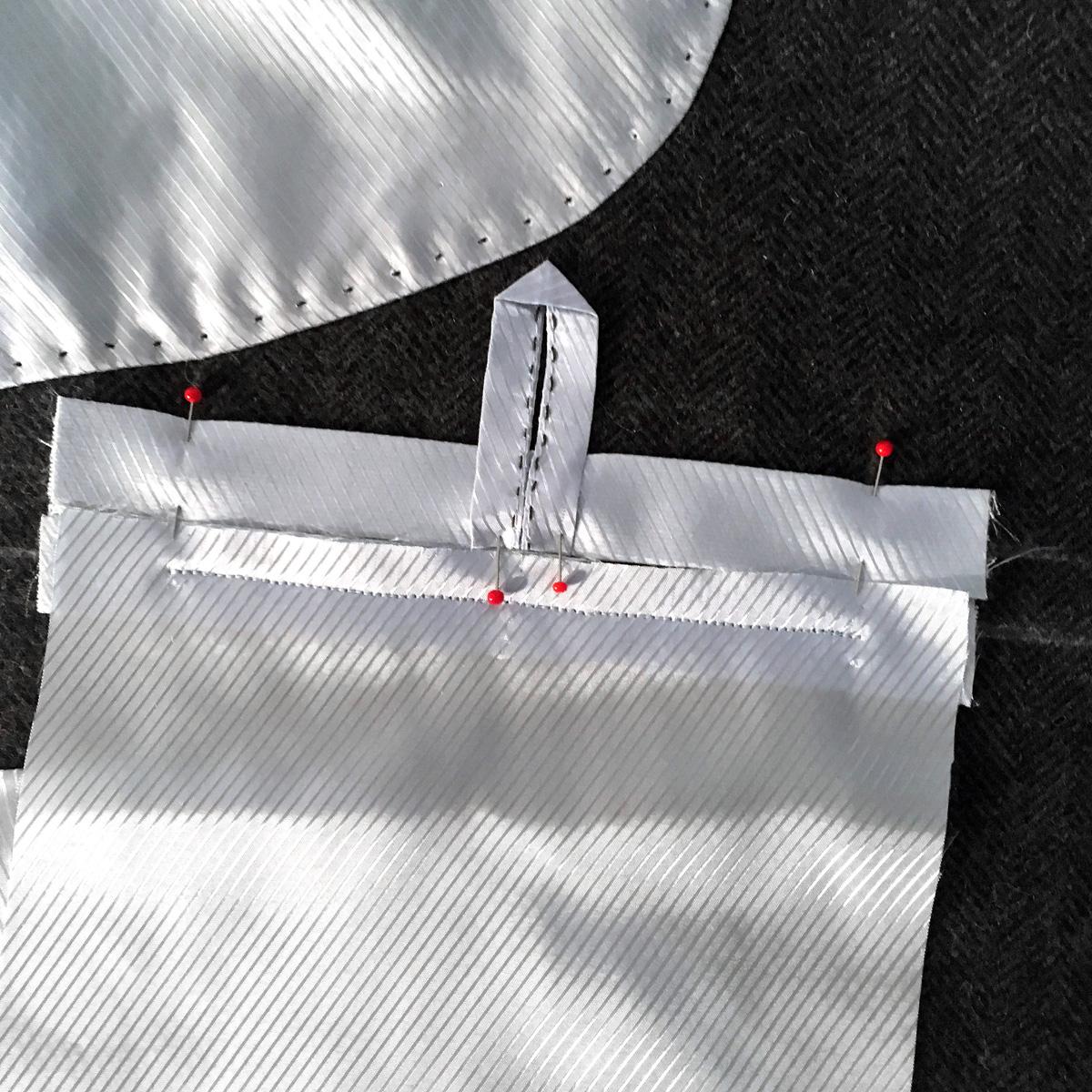 Обработка внутреннего кармана в верхней одежде
