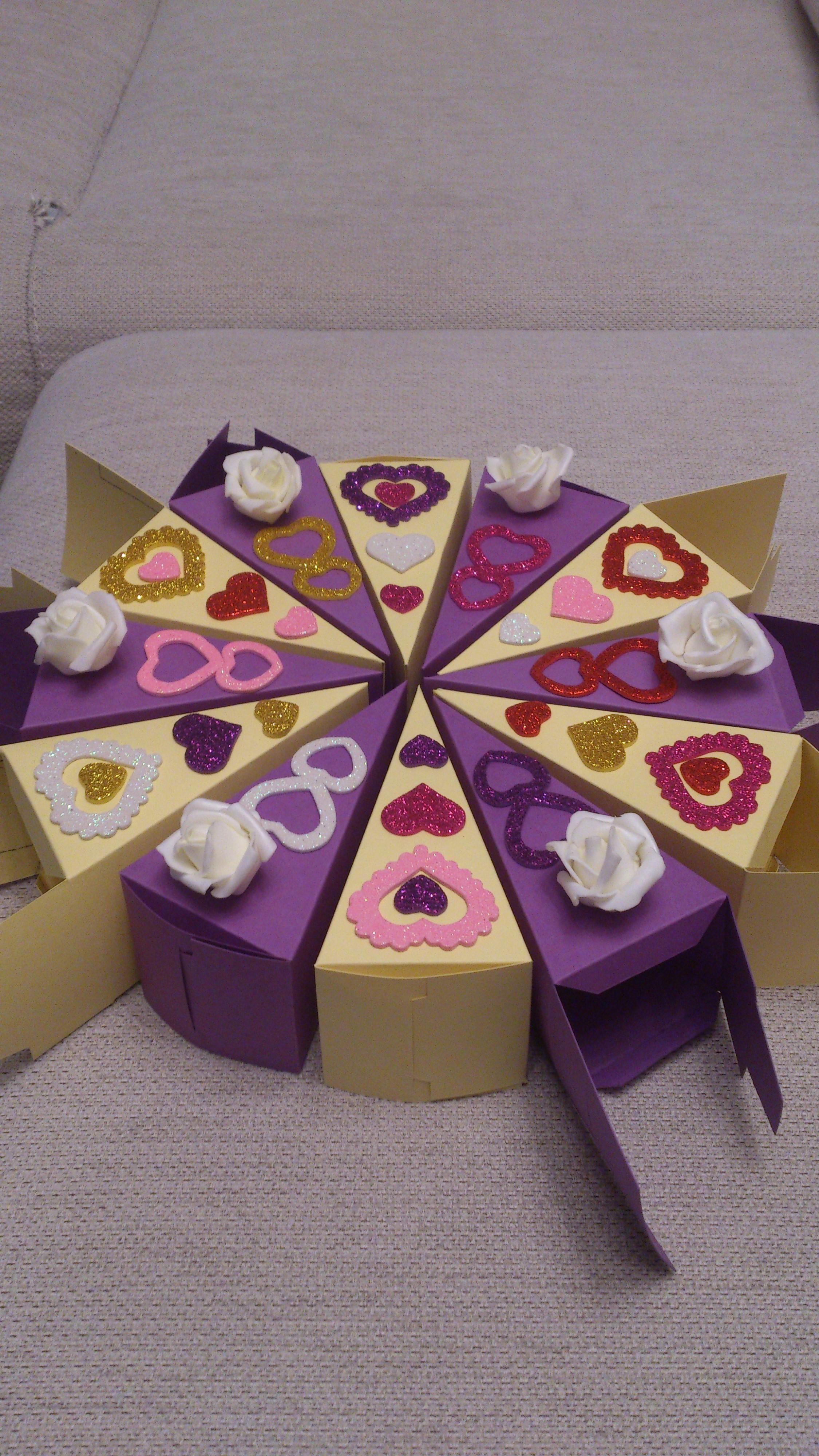 Торт из бумаги и картона с пожеланиями и сюрпризом своими 40