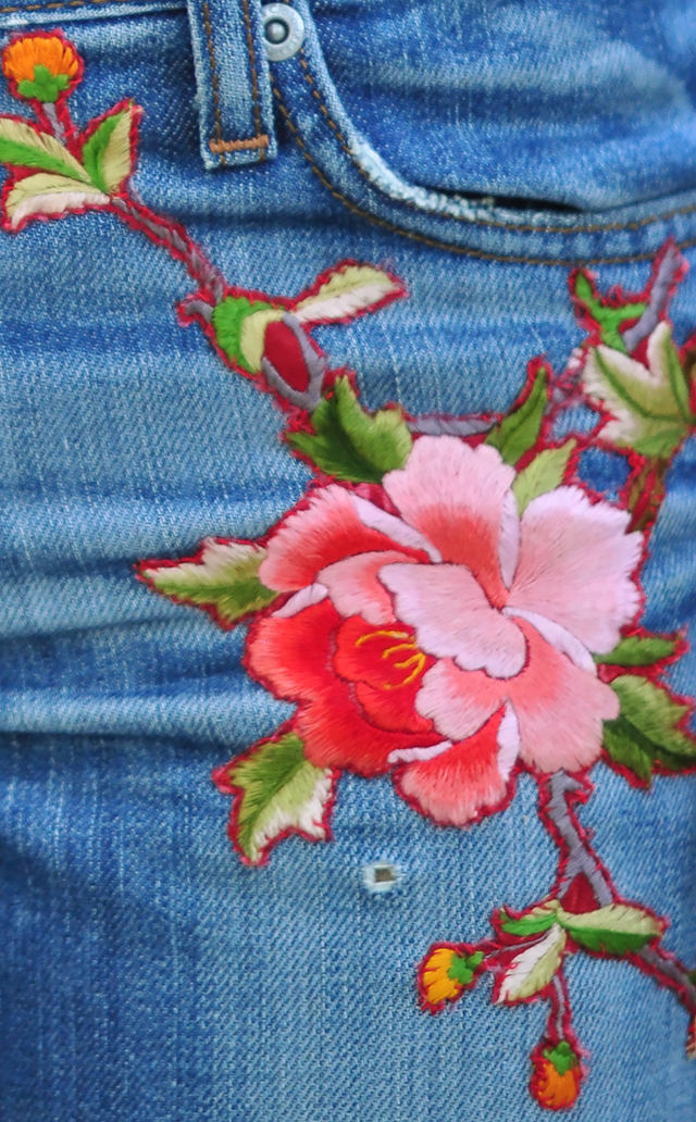 Вышивка лентами на джинсах 97