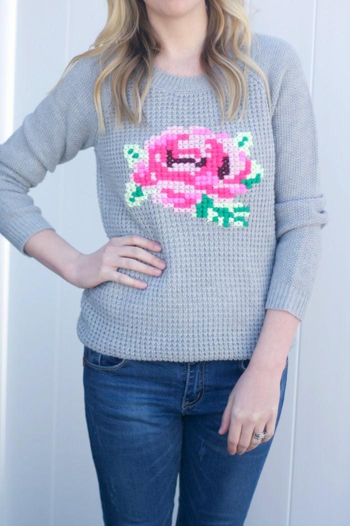 Вышивка крестом свитер