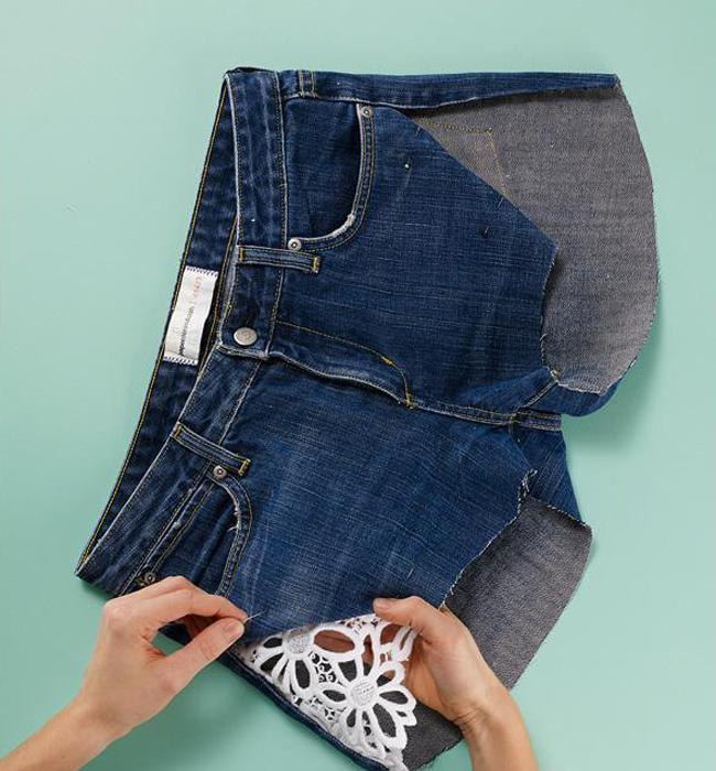 Швы на джинсовой юбке