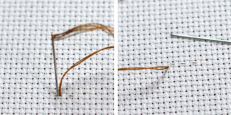 Как закрепить нитку при вышивке полукрестом 70