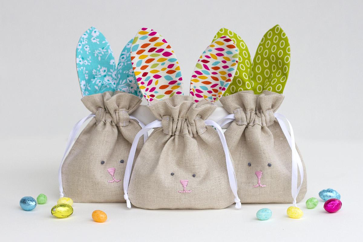 Мешочек в виде кролика для пасхальных яиц
