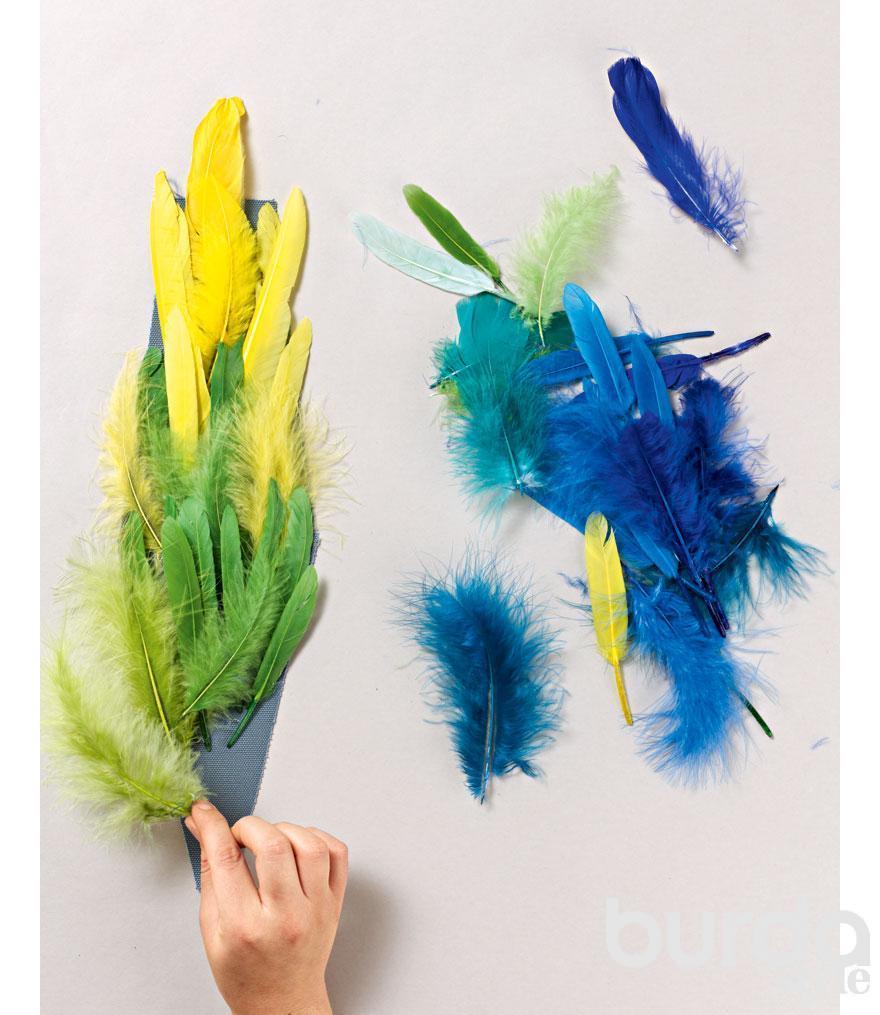 Как сшить перьев